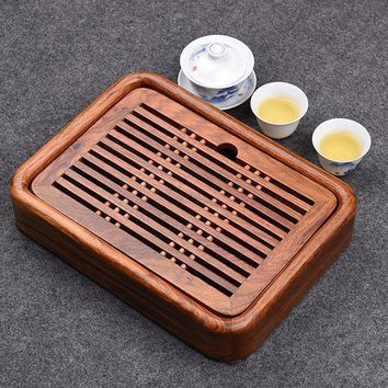 Luxury Small Kung Fu Tea Tea Set With Water Tray Solid Rosewood Tea Tray Traditional Chinese Tea Tray Wood 27*20cm