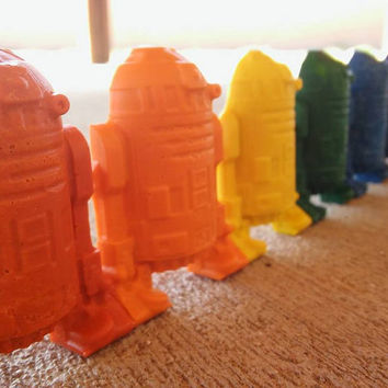 R2D2 Party Favors 5 Sets // Stocking Stuffer for Men // Crayon Goodie Bag // Star Wars Party // Non Candy Pinata Filler // Art Birthday