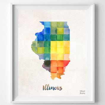 Illinois Map, Print, Springfield ,Watercolor, Poster, States, America, Painting, Home Town, Wall Decor, Dorm Room, Gift, Artwork [NO 878]