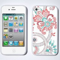 Vera Bradley INSPIRED Pink and Blue Paisley iPhone 4 / 4s Case By Little Brick Press (Hard Silicone Rubber Case)