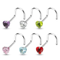 Heart CZ Nose Screw Ring