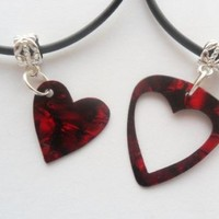 Red guitar pick necklace his and her's heart set, heart best friends set | eBay