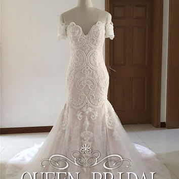 Vestido De Noiva Mermaid Bridal Gown Fish Tail Fashionable Sexy Wedding Dress 2016 Pearls Beaded Lace Appliques PA99
