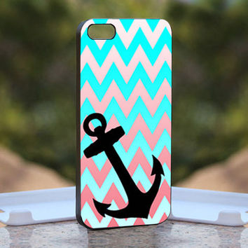 Chevron blue Anchor - Design available for iPhone 4 / 4S and iPhone 5 Case - black, white and clear cases