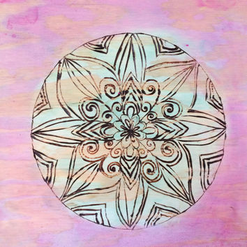 Wood Burned Mandala Art Painted With Acrylics Pink And Green 12 x 12 Wall Decor