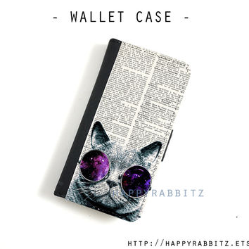 Hipster Galaxy Cat iphone 4 case leather , iphone 4s wallet case , iphone 4 wallet case , flip book iphone 4s cover , iphone case