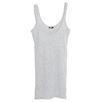 Monrow Baby Rib Scoop Tank in Heather Grey | Les Pommettes