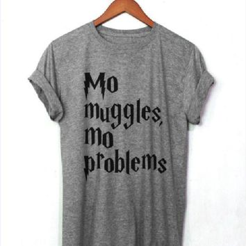PEAPJ1A [MO MUGGLES] personality English letters men and women T-shirt