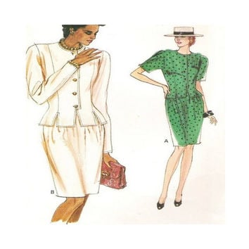 1980s Uncut Vintage Very Easy Vogue Pattern 7407 Misses' Top And Skirt Size 12 14 16