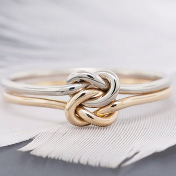 14k gold ring, engagement ring, promise ring, wedding ring, double love knot ring, solid gold ring, 16 gauge