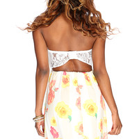 Yellow Strapless Netted Decor Floral Print Casual Dress