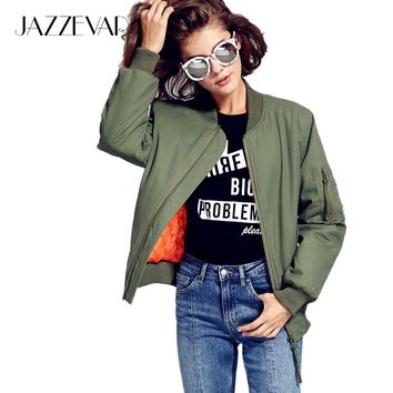 JAZZEVAR 2017 New Autumn Winter Fashion Street Bomber Jacket Cusual Quilted Cotton Green Women's Zipper Outerwear
