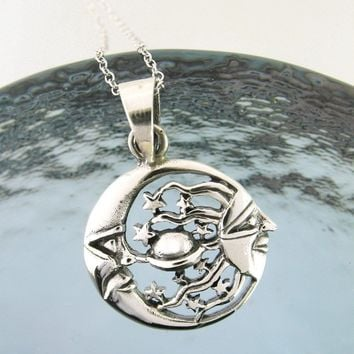 Moon Chasing the Sun Necklace in Sterling Silver