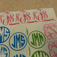 Set of 2 -- 3 inch Monograms, Stickers, Wall Decal, Personalize ANYTHING Cell phone, Ipod, Laptop