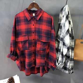 Korean Women's Fashion Winter Plaid Long Sleeve Shirt [8997733254]