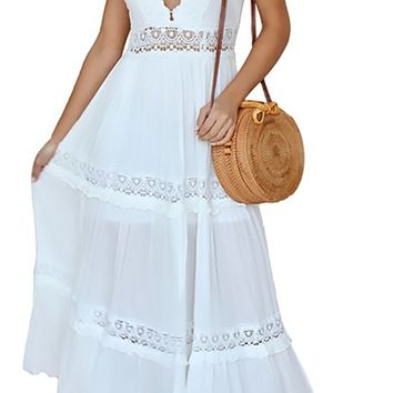 Ready To Love Lace Sleeveless Plunge V Neck V Back A Line Maxi Casual Dress - 2 Colors Available