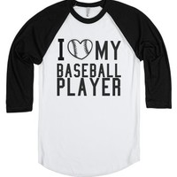I heart my baseball player-Unisex White/Black T-Shirt