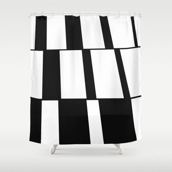 Rising Rectangles #blackandwhite #pattern #decor #society6 Shower Curtain by Menega Sabidussi