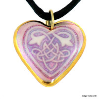 Celtic Knot Heart pendant, Valentine's Day gift idea, hand-crafted fine porcelain holographic glaze, 22K gold trim, custom black satin cord