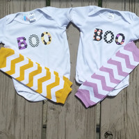 BOO Halloween Onesuit or Shirt - Halloween Outfit - Twin Baby Halloween - Boy Girl
