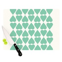 Kess InHouse Project M Mint Diamond Hearts Cutting Board, 11.5 by 15.75-Inch