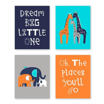 Harper Giraffe Baby Boy Wall Art, Elephant Giraffe nursery decor, Newborn boy nursery, Navy Orange Aqua Gray, Baby gift, Set of 4 Prints