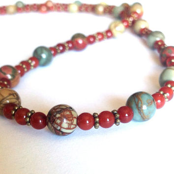 Bohemian Earth Tone Beaded Necklace - Hippie Fashion Necklace