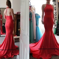 red backless High Neck long elegant maxi dress. maxi dress sexy dress long prom dresses. Backless Evening Gown Sexy Mermaid deb dress.