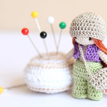 "Miniature Crochet Doll ""Malka Doll:"" 1.7 inches, Waldorf inspired, amigurumi, doll house"