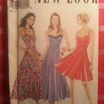 Uncut New Look Simplicity Sewing Pattern, 6055! 6-8-10-12-14-16 Small/Medium/Large/Women's/Misses/Flared Sundresses/Halter Top/Tank Top