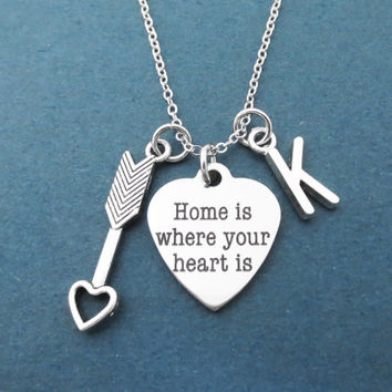 Personalized, Letter, Initial, Home is where your heart is, Heart, Cupid's arrow, Silver, Necklace, Cupid, Love, Arrow, Gift, Jewelry