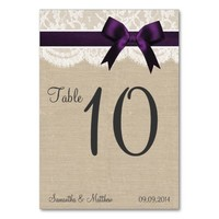 Ivory Lace & Purple Bow, Burlap Table Numbers