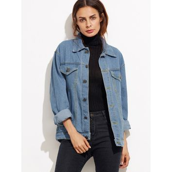 Doubtful Button Front Pockets Boyfriend Denim Jacket - Blue