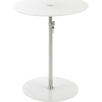 Radinka Adjustable Height Round End / Side Table Pure White Glass & Chrome