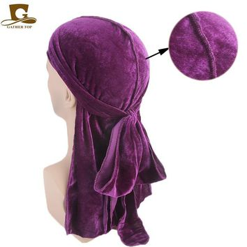New Men's Velvet Durags Bandana Turban Hat Wigs Doo Durag Biker Headwear Headband Pirate Hat Hair Accessories New fashion