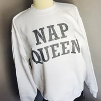 NAP QUEEN funny crewneck fleece sweatshirt pullover sweater trap queen 1738 fetty wap