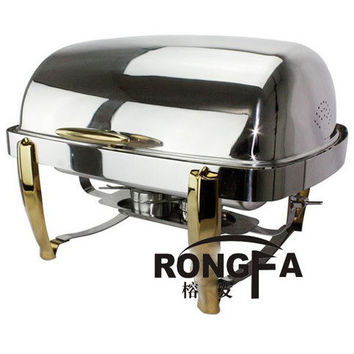 High Quality Stainless steel chafing dish buffet dish gold leg panela