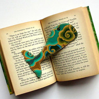 Bookmark, Whale Tail, Fabric Book Mark, Kaffe Fassett