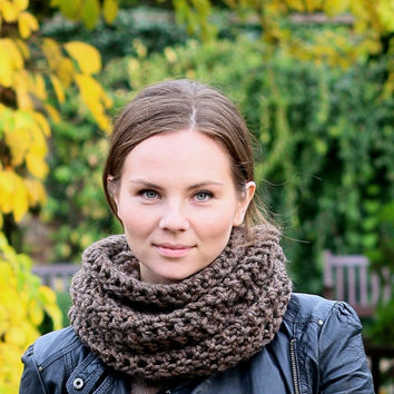 Circle Scarf  Chunky Infinity Scarf for Women or Men Winter Accessories Winter Fashion Brown