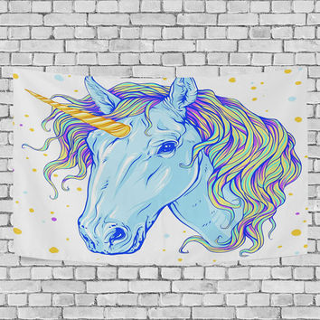 Colorful Blue Unicorn Tapestry Wall Hanging Cool Horse Pattern Wall Decor Art for Living Room Bedroom Dorm