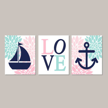 Nautical Nursery Wall Art, Pink Aqua Navy, Floral Nursery, Flower Nursery Decor, Girl Nursery Sailboat Anchor Love Set of 3 Prints Or Canvas