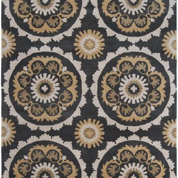 Mosaic Medallion and Damasks Area Rug Black