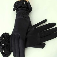 Black Short Evening Gloves-Rosette Pearl Trimmed Black Stretch Satin Wrist Length Gloves