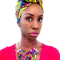 Wax print african tribal kitenge ankara fabric bib statement rope knot necklace