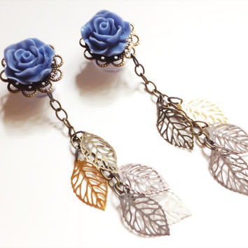 7/16 Inch Dangle Gauged Earrings 000g Ear Plugs Choose Color 11mm Dangle Plugs Body Jewelry With Filigree Leaves Dangles