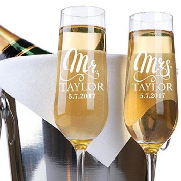 NEW Bride and Groom CUSTOMIZED and Handmade: Wedding Toast Champagne Flutes.