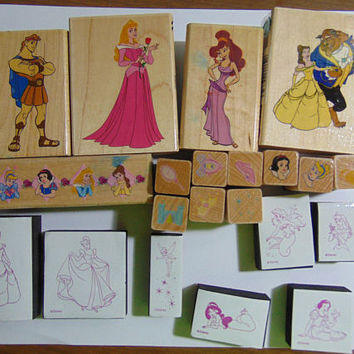 21 Disney Prince and Princess Rubber Stamps Great For Crafts, Scrapbooking, Cards and more