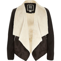 River Island Girls black waterfall jacket