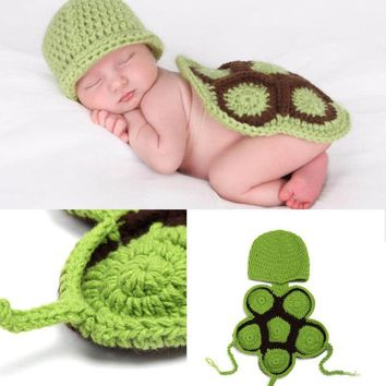 Hot Green Tortoise Newborn Baby Infant Prince Girl Boy Handmade Costume Beanie Photography Props Crochet Clothing Sets Knitted