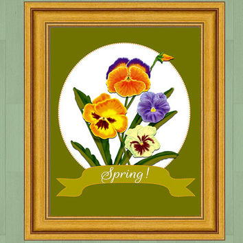 Pansy digital art print, Spring art, instant download, printable art, home decor, cottage chic wall decor, floral art, 8x10 digital download